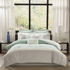 Madison Park Roslynn Queen Size Bed Comforter Set Bed in A Bag - Aqua, Striped – 8 Pieces Bedding Sets – Microcell Bedroom Comforters Bed Comforter Sets, Queen Size Bedding, Bedroom Comforters, California King, Bed In A Bag, Do It Yourself Home, Luxury Bedding, Duvet Cover Sets, Furniture