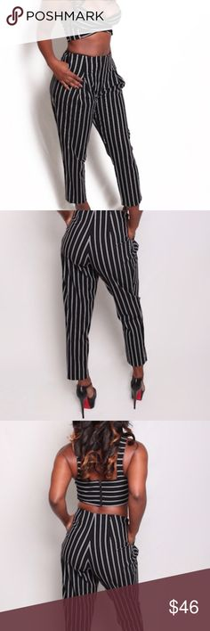 Two piece crop top and ankle pant pinstriped set We've got you covered for those nights on the town with this sexy two piece. This high waist pant and bralette fits true to size, can be worn separately as well.  Fashion tip: Wear a blazer or leather jacket over it on those chilly nights....don't forget your heels! This item is Brand New! May or may not have tags Pants Ankle & Cropped