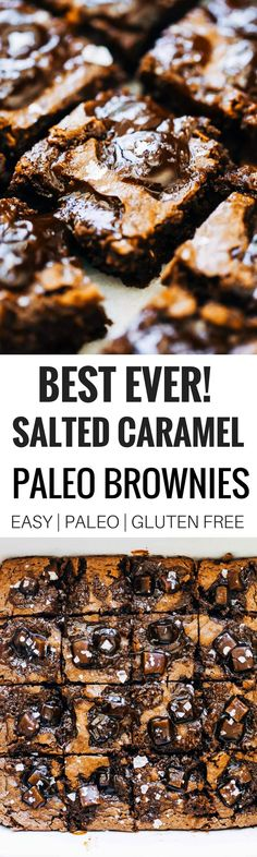 The ultimate fudgey paleo salted caramel brownies. Thick. Dense. Perfect fudgification. Caramel Pools. Appropriate gooey-factor. Healthy, gluten free, and paleo brownies. These brownies are rockstars, winning hearts of both paleo and wheat-eaters alike! B