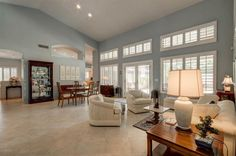 blue gray wall add much needed color to this room, yet are still neutral. #goodstaging