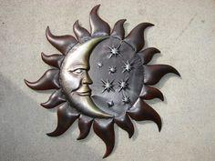 Metal Wall Art Moon, Sun and Stars.