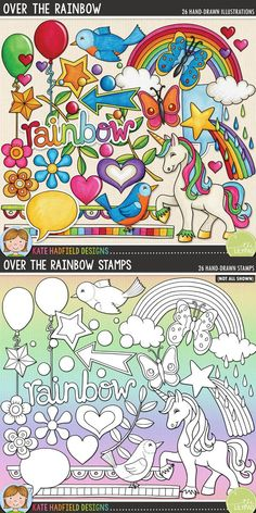 Over the Rainbow: 1980s retro kitsch digital scrapbooking elements / cute 80s clip art! Hand-drawn doodles, clip art and line art for digital scrapbooking, crafting and teaching resources from Kate Hadfield Designs!