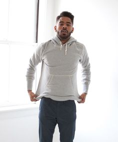 Men's Heather Grey Organic Hooded Sweatshirt by Victor Athletics
