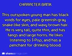 character bank. Great example for organizing characters.