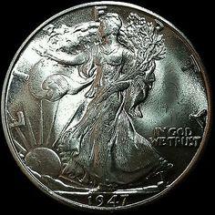 1947-D Walking Liberty Half Dollar, Lustrous Choice Gem BU Blazer, Ships Free!