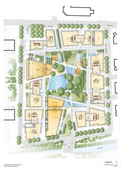 JNBY Headquarters project by RPBW (Renzo Piano) ...green architecture ... interesting landscape (parter) design composition, combination grass, trees, water and oriented paths, great!