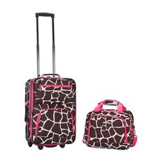 Showcase your wild side with this lightweight carry-on luggage set. This two-piece set features a giraffe-print design with pink straps and zippers, and it comes with both a luggage piece and a tote for both your larger and smaller items.
