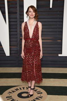 Emma Stone in an Altuzarra cocktail dress - Academy Awards 2015 Vanity Fair After Party