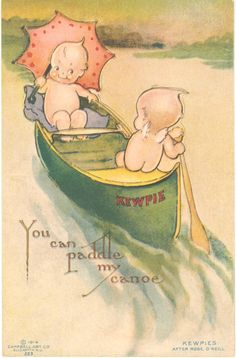 1914 antique 3D postcard with Rose O'Neill's illustrated kewpies by the Klever Kard company from the Bonniebrook research library.