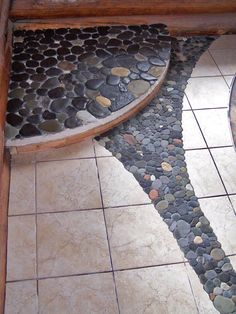 Exceptional ALL River Rock Flooring Inlay For Our Bathrooms It Is!