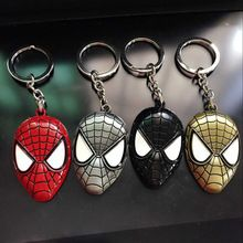 Neuf de haute qualité Marvel Super Hero Spiderman masque alliage porte-clés The Avengers Spider man métal porte-clés pendentif Charm trousseau(China (Mainland))