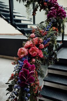 15 Wedding Staircase Decor Ideas for an Ultra Glamorous Affair Wedding Staircase Decor – Free the Bird Photography Floral Wedding, Fall Wedding, Wedding Bouquets, Wedding Flowers, Dream Wedding, Jewel Tone Wedding, Wedding Season, Flower Bouquets, Wedding Colors