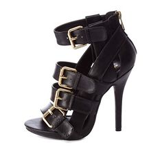 Buckled & Belted Strappy High Heels: Charlotte Russe