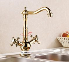 58.90$  Buy here - http://alijjv.worldwells.pw/go.php?t=32598311778 - Top quality Gold kitchen cold and hot water faucets mixer kitchen taps basin faucets home supplies 58.90$