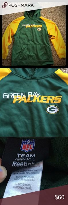 Green Bay packers hoodie Green Bay packers hoodie. Used. Size youth large. Fits me, in usually an xs in women. Some pen marks on sweatshirt. Reebok Tops Sweatshirts & Hoodies