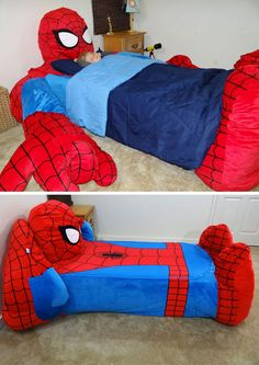 Spiderman Bed: This is one thing that'll help kids sleep better at night. Funny Images Gallery, Funny Pictures, Spiderman Bed, Disney Themed Rooms, Superhero Room, Man Room, Cool Beds, House And Home Magazine, Room Themes
