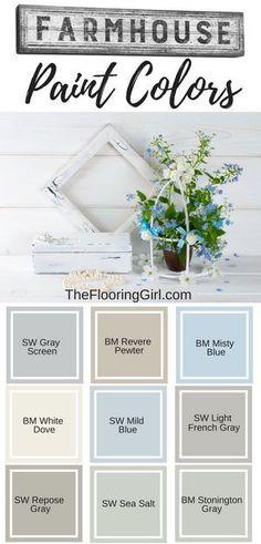 Farmhouse paint colors. Best shades of paint for modern farmhouse decor. #farmhouse #paint #shades #farmhousestyle #farmhousedecor #homedecor #diyhomedecor #rustic