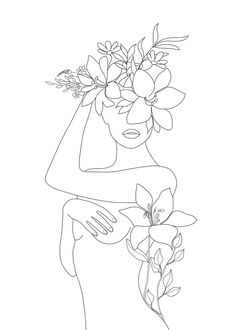 Minimal Line Art Woman with Flowers VI Mini Art Print by Nadja - Without Stand -. Minimal Line Art Cool Art Drawings, Art Sketches, Art Minimaliste, Minimal Art, Outline Art, Minimalist Drawing, Art And Illustration, Illustrations, Aesthetic Art