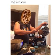 this is fake because if he was pouring the batter the waffle wouldn't already be cooked