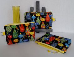 Small zippered pouch / Accessory case with side tab ring - Black with multi-color Cats / Yellow interior by TotesByTina on Etsy