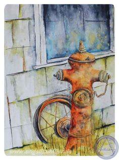 Hydrant - morbider Charm Aquarell, 40 x 30 cm