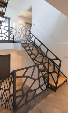 Quality work made here in New York! Staircase Handrail, Stair Railing, Staircase Design, Bungalow Haus Design, House Design, Steel Railing Design, Interiores Art Deco, Door Gate Design, Appartement Design