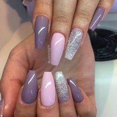 """4,727 Likes, 38 Comments - Solin Sadek (@solinsnaglar) on Instagram: """"""""Blueberry Milk"""", """"Pastel Pink"""" och glitterombre i lila och silver👌🏼 #lillynails"""""""