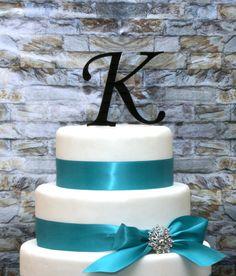 KEEPSAKE TOPPER - 4 inch Monogram Acrylic Cake Topper in Any Letter A B C D E F G H I J K L M N O P Q R S T U V W X Y Z via Etsy