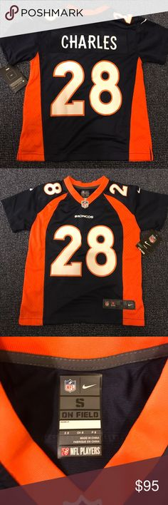 BNWT JAMAAL CHARLES NIKE YOUTH SMALL JERSEY #28 100% Authentic, Brand New With Tags Custom Nike Jamaal Charles Jersey #28  Navy Blue Jamaal Charles Denver Broncos Youth Jersey  The perfect Christmas gift for that die hard Broncos fan in your life!!  Brand new from NFL Shop.com!! Jersey itself cost $110 but total including tax & shipping was $120. Save $30 buying it discounted here for only $90!  Size: Youth Small  **Please see Size Chart in Picture 8** Nike Shirts & Tops