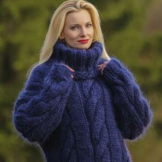 Made to order mohair sweater in deep blue, size S, M, L, XL