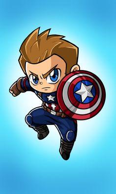 Avengers Drawings, Drawing Superheroes, Avengers Cartoon, Marvel Cartoons, Avengers Art, Captain America Painting, Captain America Drawing, Captain America Art, Baby Marvel