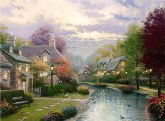 Lamplight Brooke Painting by Thomas Kinkade
