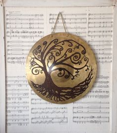 Music Tree painting on a repurposed cymbal by MusicAsArtBySarah on Etsy