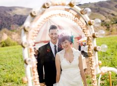 Vintage Circus Wedding: Stacey + Josh    Looks like so much fun and a GREAT dress :D