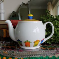 Items similar to Beach Huts 2 cup teapot on Etsy Paint Your Own Pottery, White Rabbits, Teapots And Cups, Pottery Designs, How To Make Tea, Pottery Painting, Beach Huts, Bone China, A Table