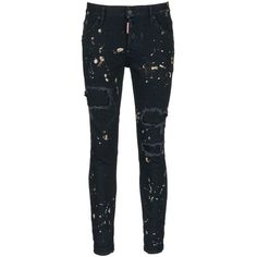 Dsquared2 'Skater' bleached patchwork skinny jeans ($485) ❤ liked on Polyvore featuring men's fashion, men's clothing, men's jeans, men, pants, black, mens patched jeans, mens skinny fit jeans, men's paint splatter jeans and mens denim jeans