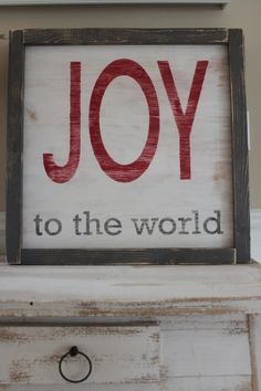 JOY To The World Vintage Christmas Inspired Distressed Framed Wood Wall Art/Sign. $44.99, via Etsy.
