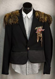 Brandon Flowers' Dior feather jacket.