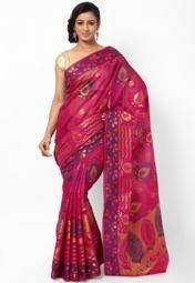 Faux Silk Banarasi Multi Magenta Saree