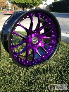Prismatic Powders - Ink Black And Illusion Purple With Clear Vision Top Coat Cool Car Accessories, Car Interior Accessories, Rims And Tires, Rims For Cars, Truck Rims, Jeep Truck, Ford Trucks, Powder Coating Wheels, Subaru