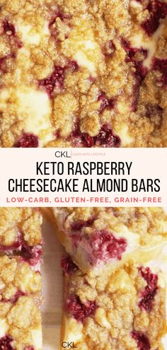 These Keto Raspberry Cheesecake Bars are going to be your new favorite keto dessert! They are a keto, low-carb, grain-free, gluten-free treat made to share with family and friends. Raspberry Cheesecake Bars, Oreo Cheesecake, Keto Recipes, Cooking Recipes, Cake Recipes, Chocolate Chip Recipes, Chocolate Chips, Almond Bars, Low Carb Sweets