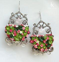 Window To Summer silver earrings - back side by JSjewelry