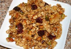 Best granola recipe ever. So easy, low on the glycemic index, and a great addition to yogurt, oatmeal or oat bran.