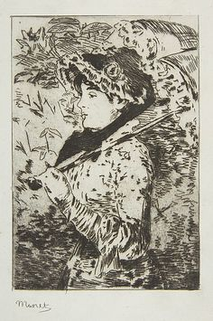 Jeanne (Spring) - Édouard Manet Date: 1882 Medium: Etching on blue laid paper, only state, from 1905 Strölin edition