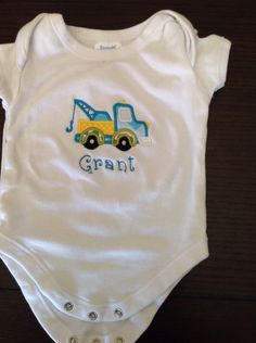 Personalized Tow Truck Onesie by TheBlueSage on Etsy