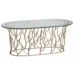 Gold Leaf/Clear Polished Edge GlassDimensions: H: 18 1/2'' • W: 46'' • D: 20''Item Weight: 0Material: iron, glass