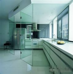Glass partition for kitchen