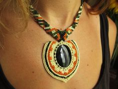 Obsidian Beige Black and Orange Macrame Necklace handmade with natural obsidian stone cabochon