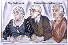 """From Alice Stallknecht """"The Circle Supper"""" mural. Color photograph of oil painting  showing from left to right: Melissa Clark, Captain James Clark, Rebecca Swan, Chatham, MA. #alicestallknecht, #chatham, #chathamhistoricalsociety, #atwoodhouse, #muralbarn, #painting, #mural"""