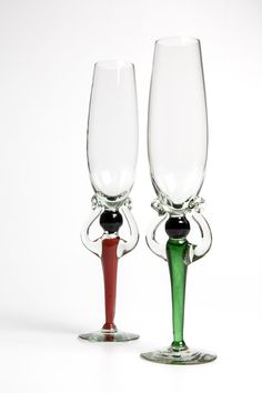 Rainbow Nation Champagne Flutes ~ made in honor of Madibas Birthday! by Ngwenya Glass